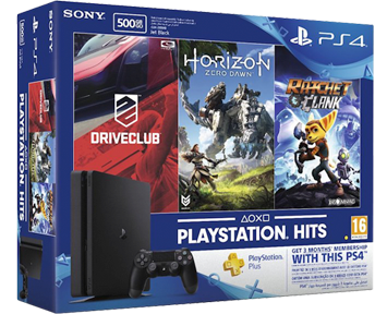 Sony PlayStation 4  500GB Slim Black (CUH-2008A) + 3 игры Horizon + Driveclub + Ratchet&Clank RU