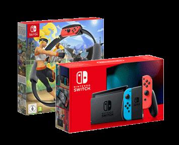 Игровая приставка Nintendo Switch Красный/Синий + Ring Fit Adventure