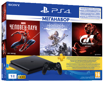 Sony PlayStation 4 1TB Slim Black <br>CUH-2208B +3 игры: GT + Spider Man + Horizon Complete
