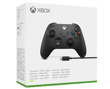 Беспроводной геймпад Xbox Carbon Black + кабель USB Type-C